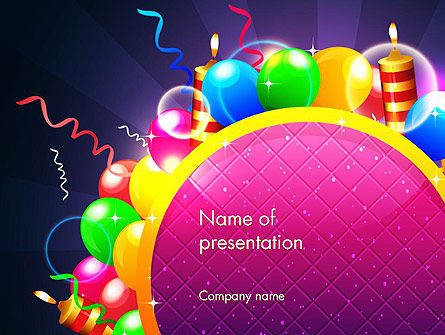 Happy Birthday Card PowerPoint Template, 14305, Holiday/Special Occasion — PoweredTemplate.com
