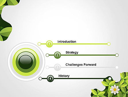 Green Gear Shape with Flower PowerPoint Template Slide 3
