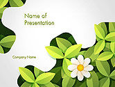 Nature & Environment: Green Gear Shape with Flower PowerPoint Template #14312