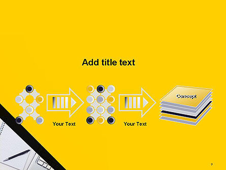 Keyboard and Notepad with Pen PowerPoint Template Slide 9