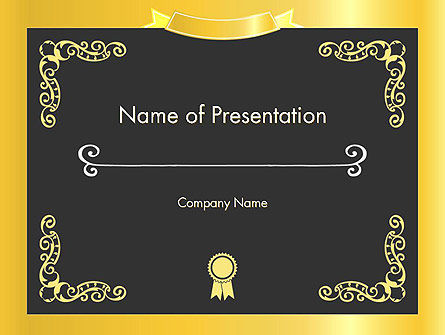 Gold Certificate Frame Powerpoint Template Backgrounds