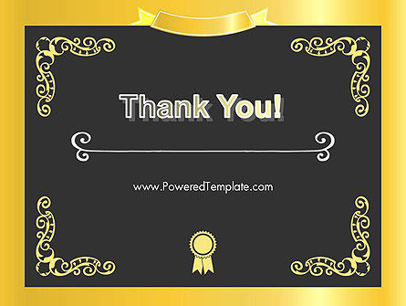 Gold Certificate Frame PowerPoint Template Slide 20