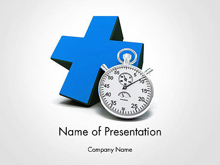 Blue Cross and Chronometer PowerPoint Template, 14327, Medical — PoweredTemplate.com