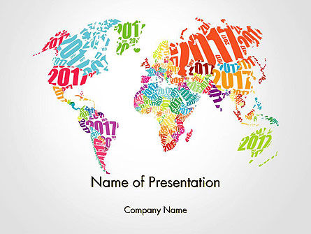 Holiday/Special Occasion: 2017 World Map PowerPoint Template #14329