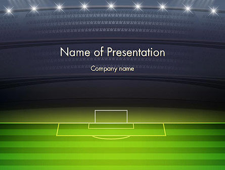 Sports: Football Stadium at Night PowerPoint Template #14332