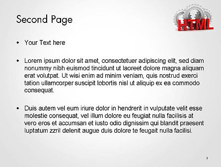 HTML and Gears PowerPoint Template, Slide 2, 14333, 3D — PoweredTemplate.com