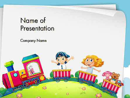 Children on the Train Illustration PowerPoint Template