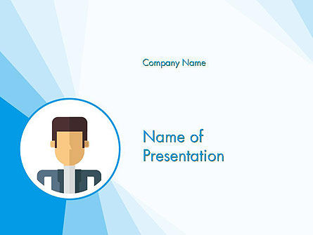 Blue Neutral Background with Person Illustration PowerPoint Template, 14336, Business Concepts — PoweredTemplate.com