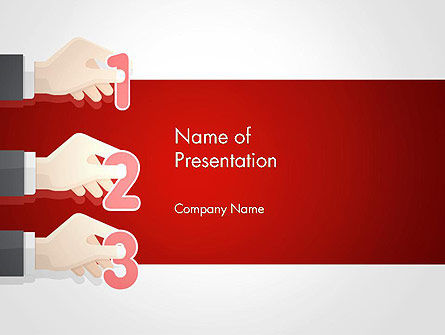 Business Concepts: Human Hands with Numbers PowerPoint Template #14339