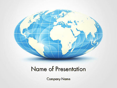 Global: World Globe in Hammer-Aitoff Projection PowerPoint Template #14341