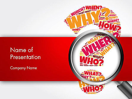 Question Mark with Magnifying Glass PowerPoint Template, 14343, Education & Training — PoweredTemplate.com