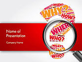 Education & Training: Question Mark with Magnifying Glass PowerPoint Template #14343