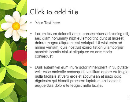 Green Leaf with Flowers and Butterflies PowerPoint Template, Slide 3, 14344, Nature & Environment — PoweredTemplate.com