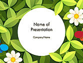 Nature & Environment: Green Leaf with Flowers and Butterflies PowerPoint Template #14344