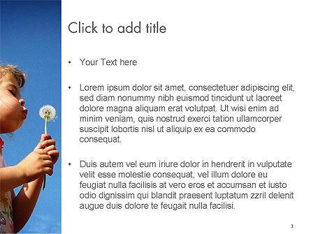Kid Girl Blowing Dandelion Flower PowerPoint Template, Slide 3, 14348, People — PoweredTemplate.com