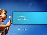 People: Kid Girl Blowing Dandelion Flower PowerPoint Template #14348