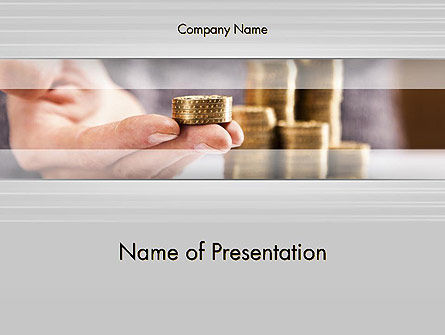 Financial/Accounting: Man Hand in Holding Golden Coins PowerPoint Template #14349