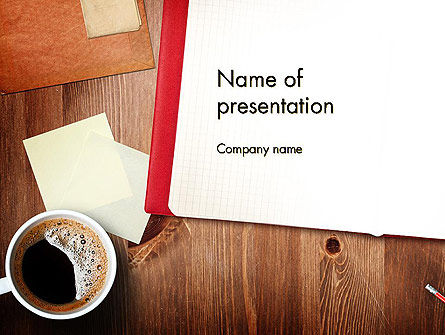 Open Notebook with Cup of Coffee on Wooden Desk PowerPoint Template, 14352, Business Concepts — PoweredTemplate.com