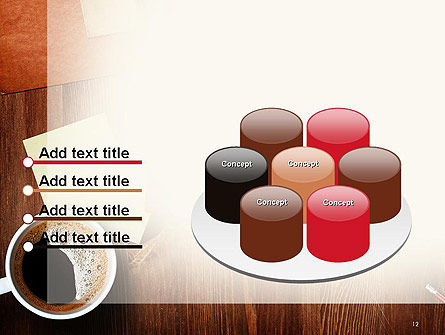 Open Notebook with Cup of Coffee on Wooden Desk PowerPoint Template Slide 12
