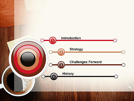 Open Notebook with Cup of Coffee on Wooden Desk PowerPoint Template Slide 3
