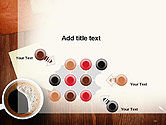 Open Notebook with Cup of Coffee on Wooden Desk PowerPoint Template#10