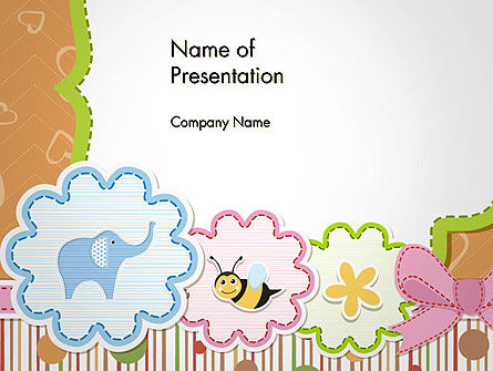 Cute Baby Shower Invitation PowerPoint Template, 14355, Holiday/Special Occasion — PoweredTemplate.com