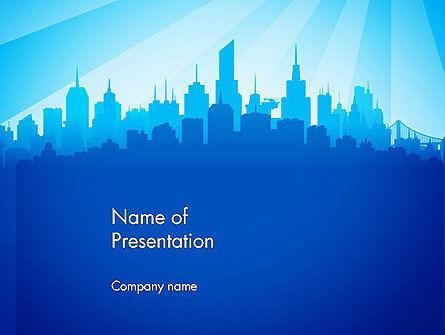 Silhouette of The City PowerPoint Template, 14361, Construction — PoweredTemplate.com