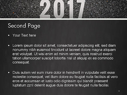 Message Start 2017 on Asphalt Road PowerPoint Template Slide 2