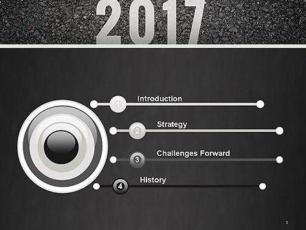 Message Start 2017 on Asphalt Road PowerPoint Template Slide 3
