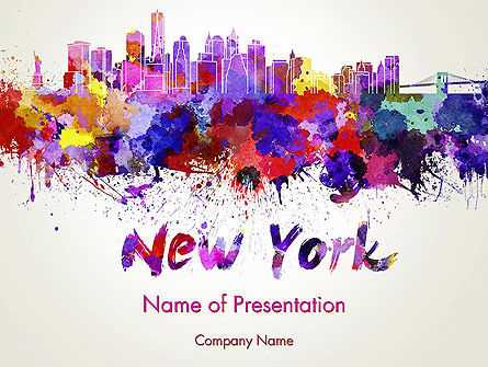 Art & Entertainment: New York Skyline in Watercolor Splatters PowerPoint Template #14368