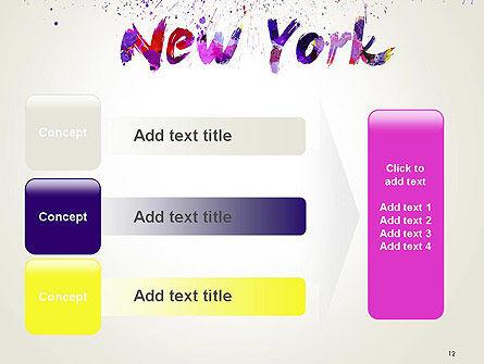 New York Skyline in Watercolor Splatters PowerPoint Template Slide 12