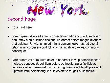 New York Skyline in Watercolor Splatters PowerPoint Template, Slide 2, 14368, Art & Entertainment — PoweredTemplate.com