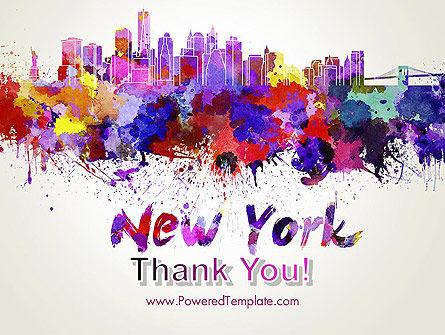 New York Skyline in Watercolor Splatters PowerPoint Template Slide 20