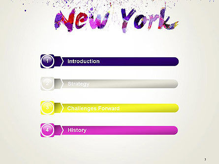 New York Skyline in Watercolor Splatters PowerPoint Template, Slide 3, 14368, Art & Entertainment — PoweredTemplate.com