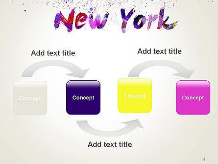 New York Skyline in Watercolor Splatters PowerPoint Template, Slide 4, 14368, Art & Entertainment — PoweredTemplate.com