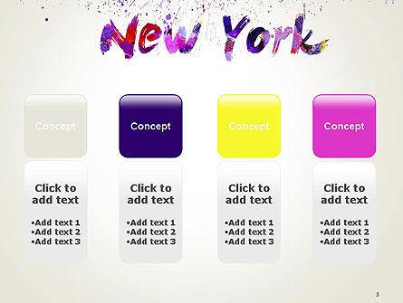 New York Skyline in Watercolor Splatters PowerPoint Template Slide 5