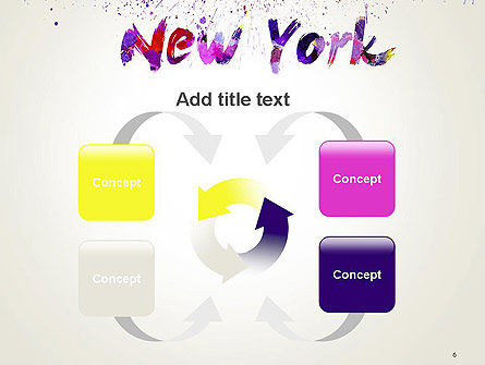 New York Skyline in Watercolor Splatters PowerPoint Template Slide 6