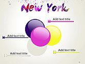 New York Skyline in Watercolor Splatters PowerPoint Template#10