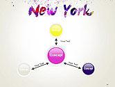 New York Skyline in Watercolor Splatters PowerPoint Template#14