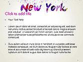New York Skyline in Watercolor Splatters PowerPoint Template#2