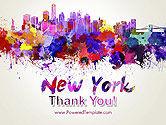 New York Skyline in Watercolor Splatters PowerPoint Template#20