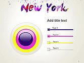 New York Skyline in Watercolor Splatters PowerPoint Template#9