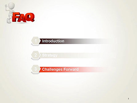 3D Small Person Standing Next to FAQ PowerPoint Template Slide 3