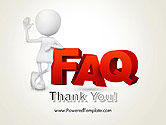 3D Small Person Standing Next to FAQ PowerPoint Template#20