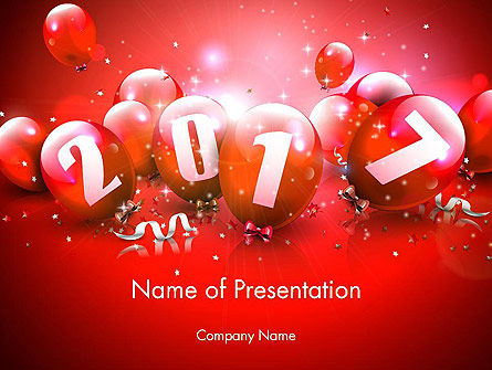 2017 Greeting Card with Red Balloons PowerPoint Template, 14374, Holiday/Special Occasion — PoweredTemplate.com