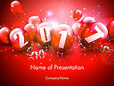 Holiday/Special Occasion: 2017 Greeting Card with Red Balloons PowerPoint Template #14374