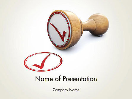 Checked Rubber Stamp PowerPoint Template, 14378, Business Concepts — PoweredTemplate.com
