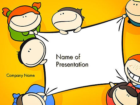 Cute Cartoon Kids Holding a Canvas PowerPoint Template, 14380, Education & Training — PoweredTemplate.com