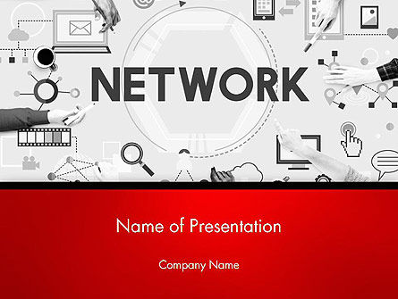 Technology and Science: Network Communicatieverbinding PowerPoint Template #14381