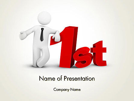 3D Businessman Presenting Concept of 1st PowerPoint Template